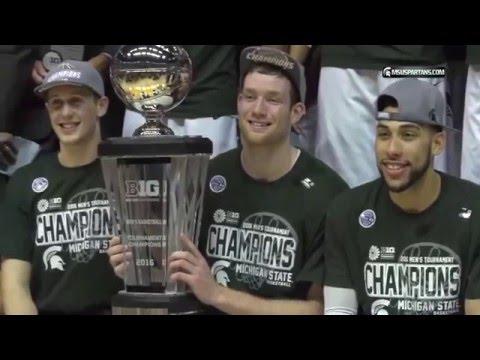 Michigan State Players Celebrate a Big Ten Championship