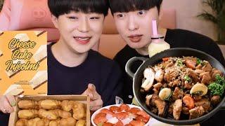 순살찜닭 먹방 후 치즈케이크 찹쌀떡, 레이보우빙수, 공…