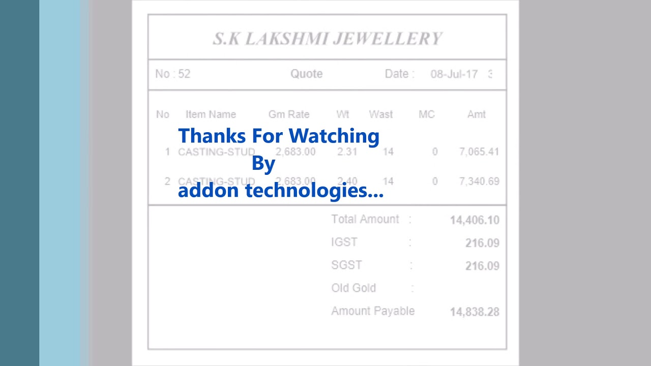 jewellery sample bill format youtube