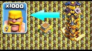 1000 Barbarian VS 1000 Hidden Tesla Madness Attack | COC Private Server