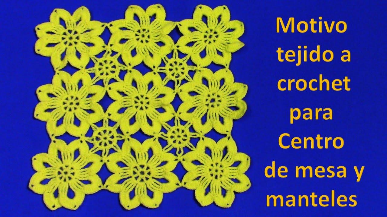 Motivo tejido a crochet de flores para centro de mesa y for Centro de mesa a crochet
