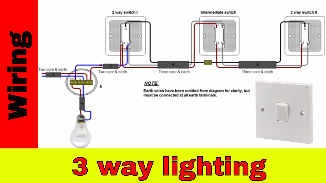 How To Wire 3 Way Lighting Circuit Youtube 4 Light Switch Schematic