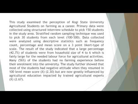Perception of Kogi State University Agricultural Students on Farming as a Career IJSAR 34 72 81new