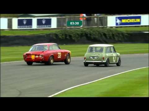 Mini pushes Alfa so hard it slides and bumps off curb