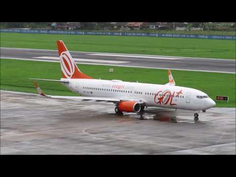 Pouso e Decolagem com Chuva em Joinville - Boeing 737-800 GOL - (PR-GGX) 18/05/2019