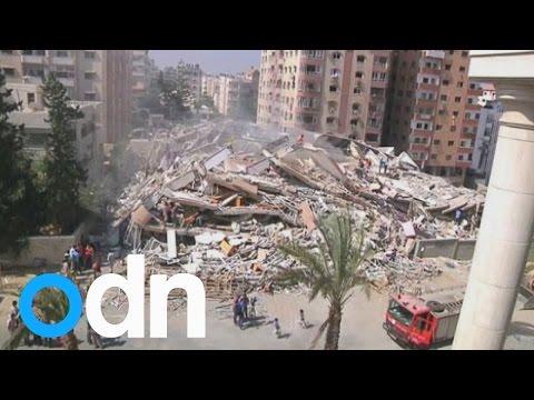 Israeli airstrike on Gaza destroys 13-storey apartment block