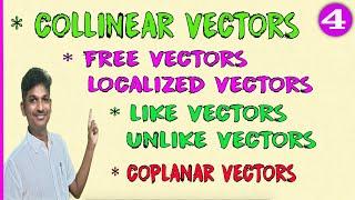 COLLINEAR VECTORS DEFINITION || PARALLEL VECTORS || FREE VECTORS || LOCALISED VECTORS || LIKE VECTOR