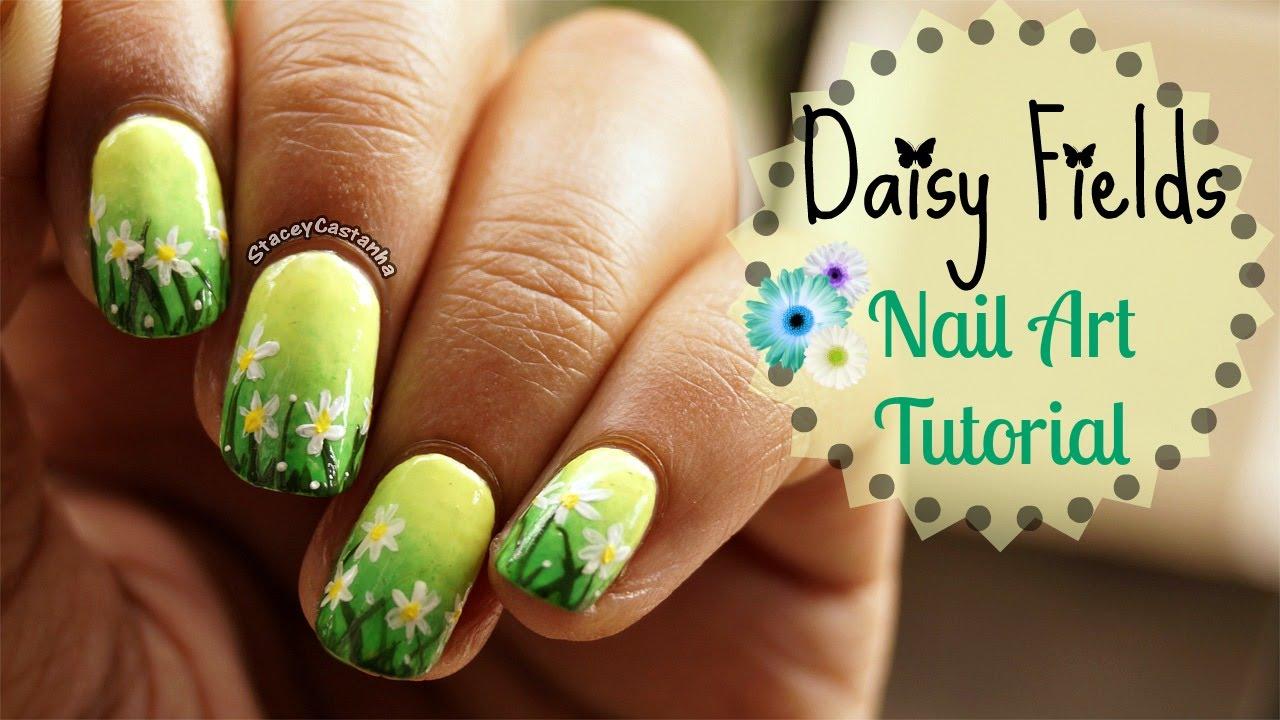 Summer Scenery Nailart Tutorial Daisy Field Youtube