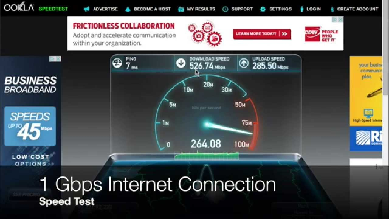 1 Gbps Internet Connection - Speed Test - YouTube