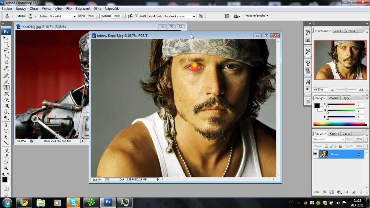Photoshop překrytí vrstev