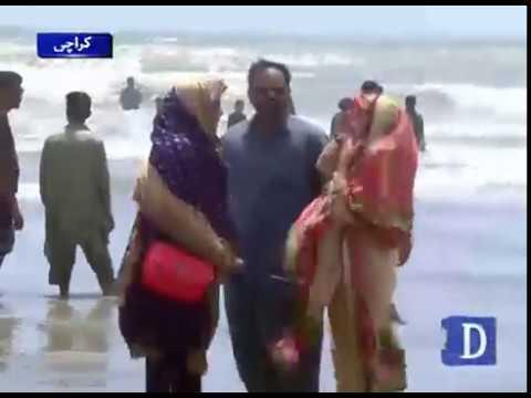 کراچی میں گرمی بڑھتے ہی شہریوں نے ساحل کا رخ کر لیا
