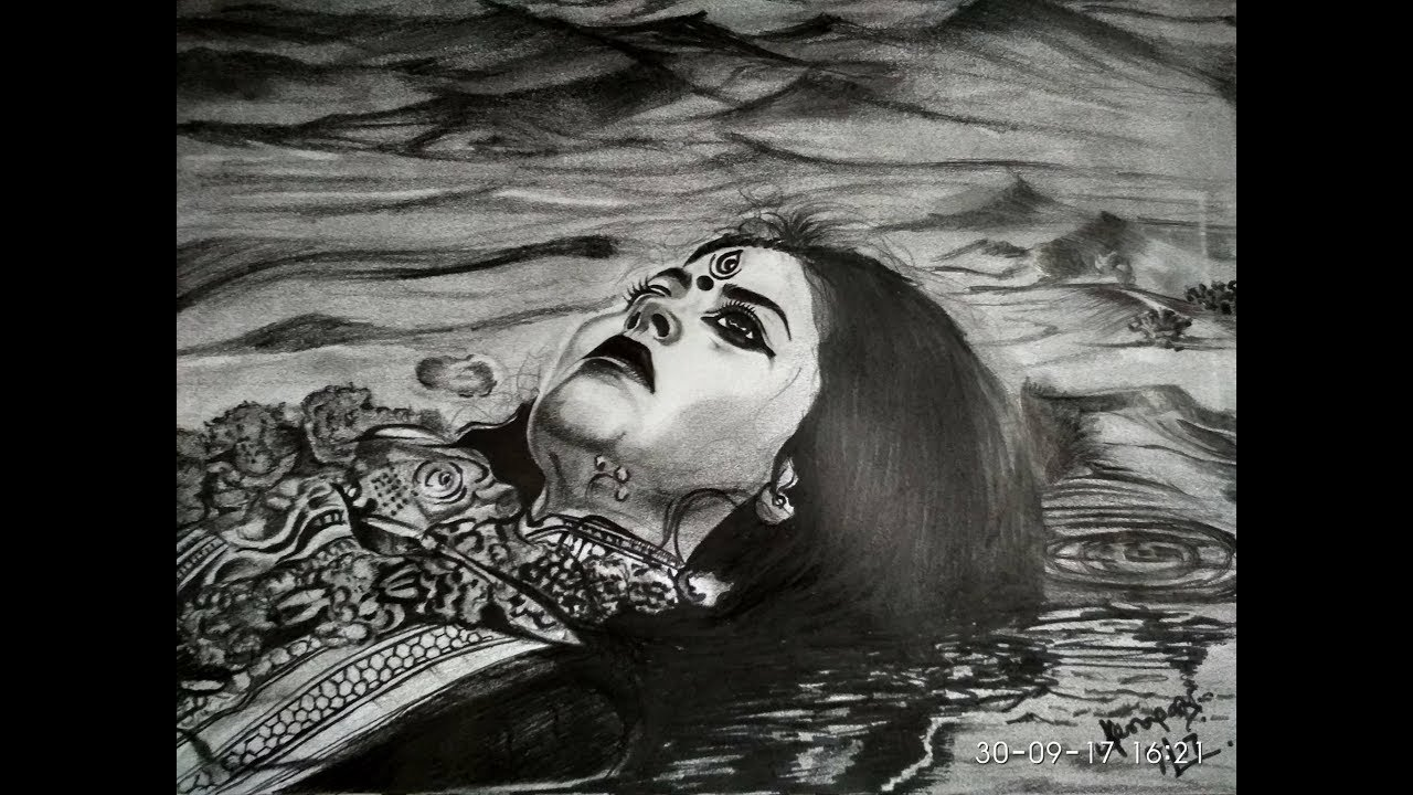Pencil sketching of goddess durga on bijaya dashami