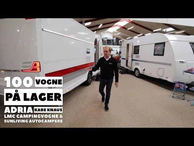 100 vogne på lager - Adria Kabe Knaus LMC campingvogne og SunLiving autocampere (Reklame)