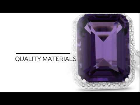 11ct Emerald Cut Purple Amethyst and Diamond Ring - SuperJeweler.com