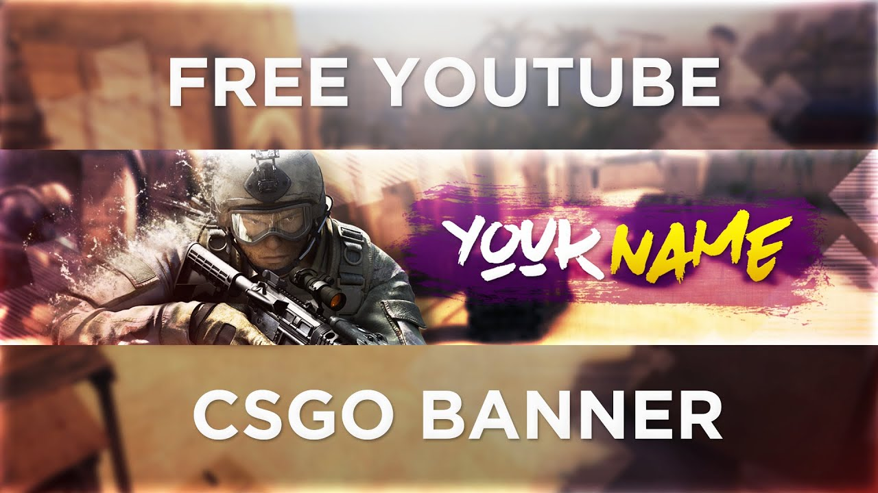 CS:GO YouTube Banner Template PSD (Photoshop) | Free Download 2016 ...
