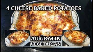 Easy 4 Cheese Potato Au Gratin - Tomato Garlic Cheesebake Baked Potatoes