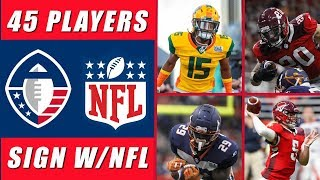 NFL Signs 45 AAF Players
