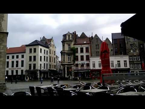 Cathedral of Our Lady Courtyard In The Rain Antwerp Belgium Timelapse