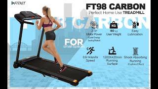 Fitkit FT98 carbon 1.25HP (2HP Peak) Motorized Treadmill
