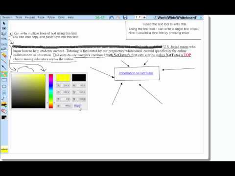 How to use the tools on NetTutor's Whiteboard
