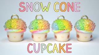 Rainbow Snow Cone Cupcake Polymer Clay Tutorial