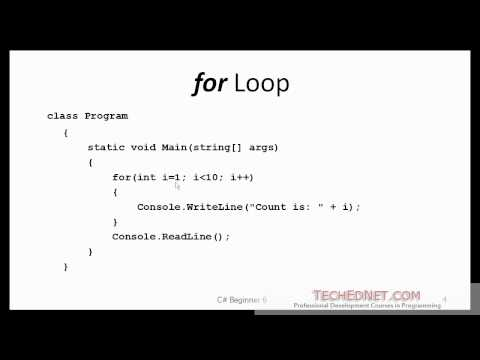 C# Beginner 5 - Loops (for, while, do...while)