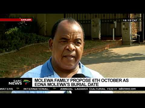 Edna Molewa family propose 6 October as her burial date