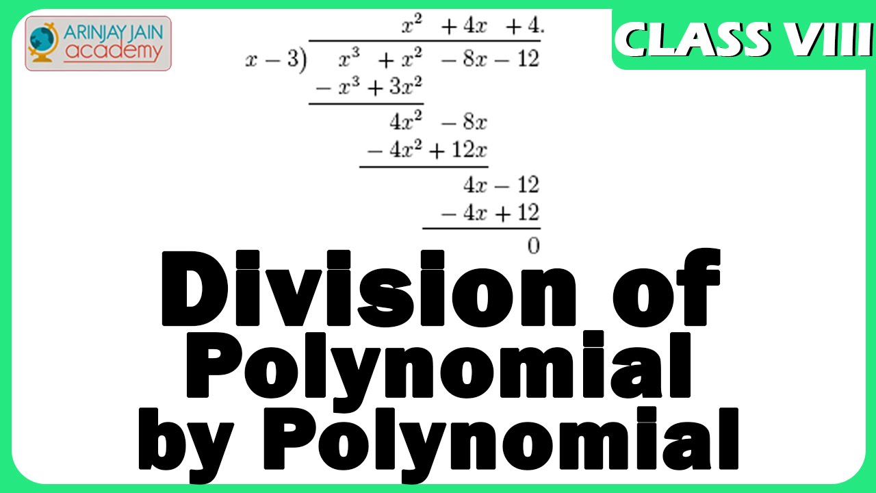 hight resolution of Division of Polynomial by Polynomial - Algebric Expression - Maths - Class  8/VIII - ISCE CBSE - YouTube