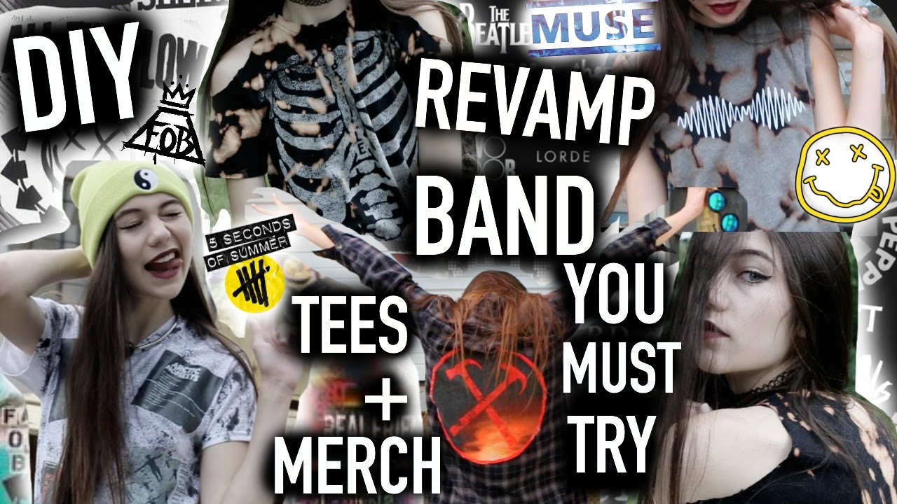 DIY and Revamp BAND T-shirts, Merch, Clothes - You MUST Try - YouTube