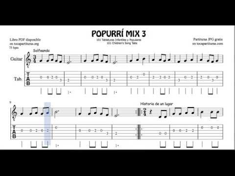 3 de 30 Popurrí Mix Tablatura y Partituras Populares Infantiles de Guitarra Tabs Solfeando