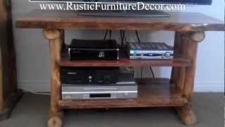 Aspen Log Tv Stand / Entertainment Center From Mountain Woods.