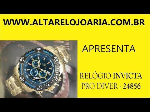 Relógio Invicta Pro Diver Cronógrafo Plaque Ouro 24856