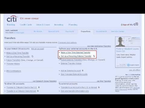 Citi Quicktake Demo How To Make An Inter Insution Transfer Using Citibank Online