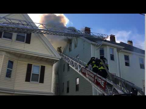 Boston firefighters at Dorchester house fire