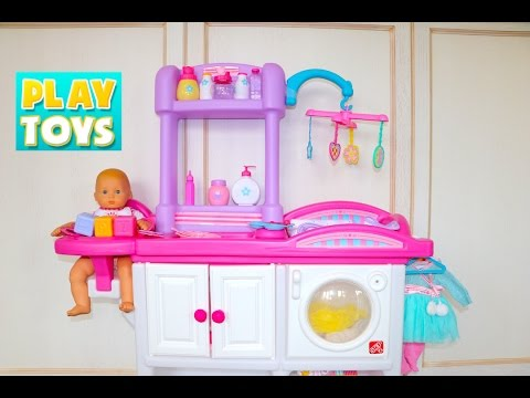 Thumbnail: Baby Doll Nursery Care toy set playing kids fun- change diaper & feed baby doll