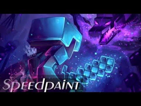 Epic Minecraft SPEEDPAINT (Minecraft) Facing the Enderdragon.