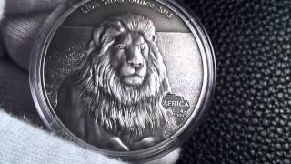 Gabon 2013 Lion- Africa Silver Ounce Series W/antique Finish