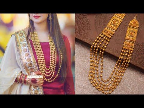 pure gold long beaded chain design ideas/multiple chain necklace set design ideas