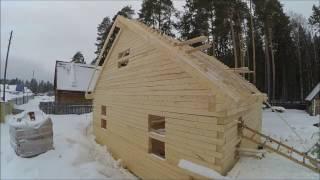видео Строительство дома из бруса по проекту Д-20, в  дер. Помялово