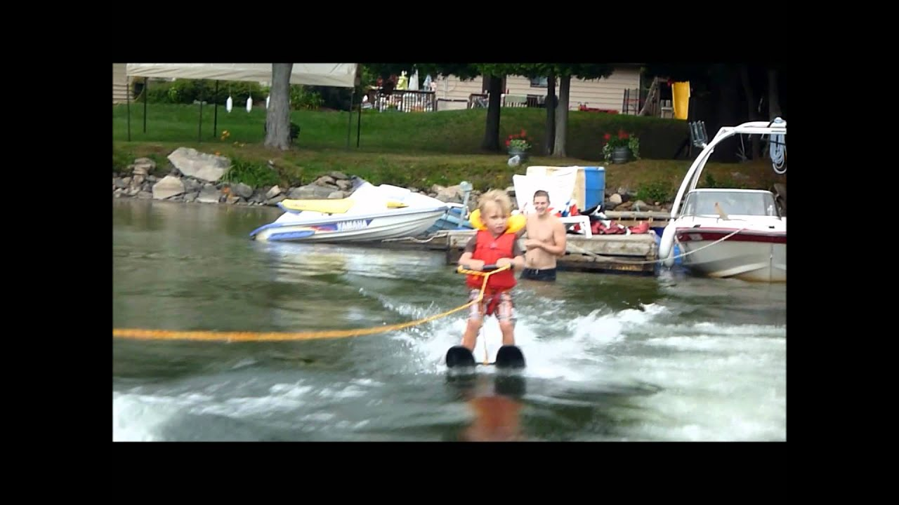 Learning To Water Ski 2 Years Old On Boshkung Lake Youtube