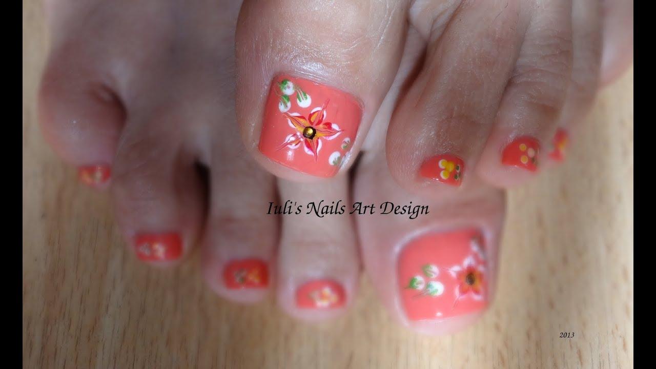 Toes Art Design for Beginners Spring-Summer-No brush-Live tutorial ...