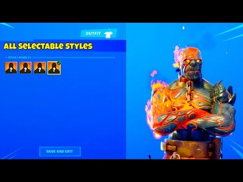*NEW* ALL FIRE KING SKIN SELECTABLE STYLES LEAKED..! (The Prisoner) Fortnite Battle Royale thumbnail