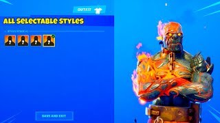 'NEW' ALL FIRE KING SKIN SELECTABLE STYLES LEAKED..! (Le Prisonnier) Fortnite Bataille Royale