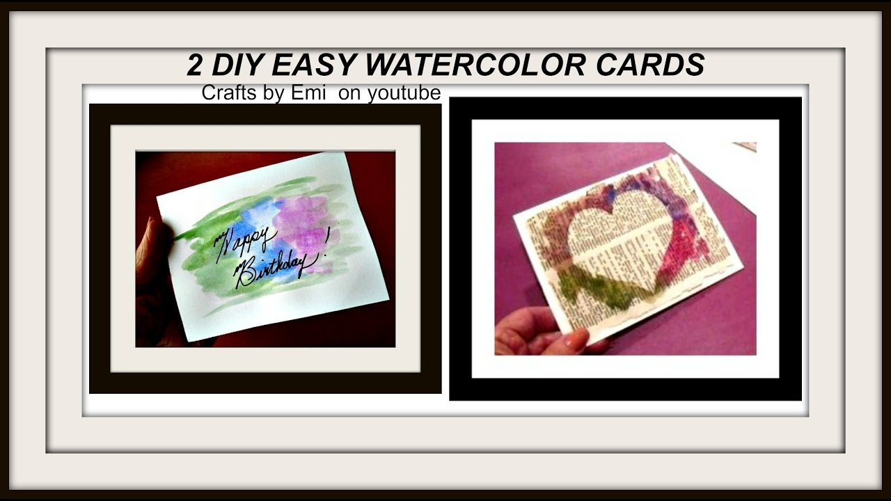 Diy 2 EASY WATERCOLOR CARDS Cardmaking Greeting Card Birthday Thank You Get Well