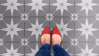 How To Stencil Faux Star Tiles On Old Tile Floor!