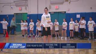WNBA star Breanna Stewart visits North Syracuse Junior High School for first basketball camp