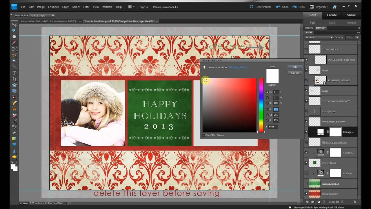 Easy To Use Vintage Holiday Card Templates For Photoshop And