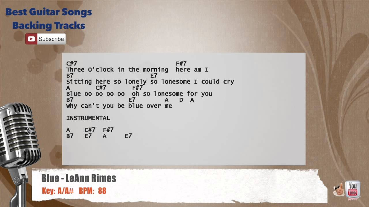 Blue Leann Rimes Vocal Backing Track With Chords And Lyrics Youtube