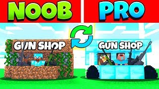 MINECRAFT NOOB VS PRO SWAPPED SECRET HOUSE BASE AND GUN SHOP IN MINECRAFT ANIMATION BATTLE