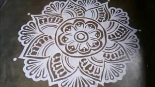 Easy Durga Puja Alpana Design || Kolam, Muggulu Design For Laxmi Puja
